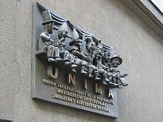 UNIMA - Memorial tablet commemorating the founding of UNIMA in Prague, Czech Republic