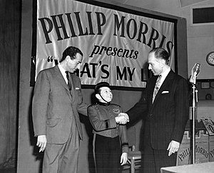 Bill Todman - Todman at left with Mark Goodson and Johnny Roventini for the radio version of What's My Line? in 1952.