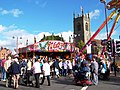 Market Place fair and St Mary's Church, in Ilkeston, Derbyshire 01.jpg