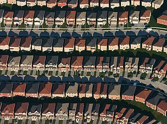 Tract housing - Aerial view of housing developments near Markham, Ontario, Canada.