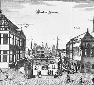 Bremer Marktplatz - Market square in 1641 by Matthäus Merian