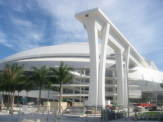 Marlins Park - An LED-illuminated show on the super columns during night games, and a rubber membrane lining the roof to reduce heat-island effect are a couple of the parks demonstrations of technology and green efficiency.