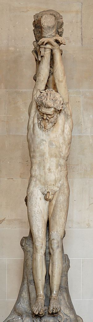 Crux simplex - Marsyas hanging from a tree to be skinned alive. Roman copy of a Greek original. 1st-2nd century CE