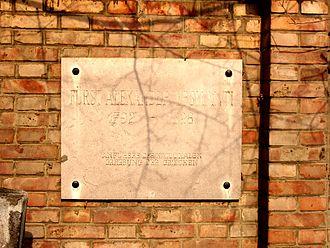 Alexander Ypsilantis - Commemorative plate at St. Marx Cemetery in Vienna