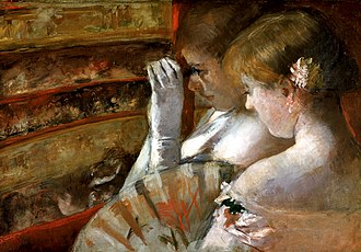 Woman with a Pearl Necklace in a Loge - Mary Cassatt, In the Box, oil on canvas, 1879, Private Collection