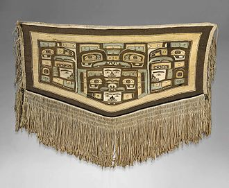Chilkat weaving - Chilkat blanket attributed to Mary Ebbetts Hunt (Anisalaga), 1823-1919, Fort Rupert, British Columbia. Height: 117 cm. (46 in.)