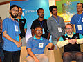 Mayeenul Islam with Jimmy Wales and Munir Hasan in Dhaka.jpg
