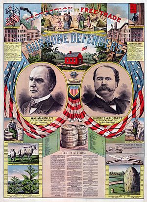 United States presidential election, 1896 - McKinley/Hobart campaign poster