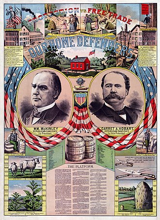 1896 United States presidential election - McKinley/Hobart campaign poster