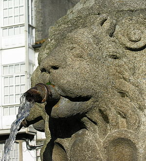 Melide, A Coruña - Old lion statue in Melide