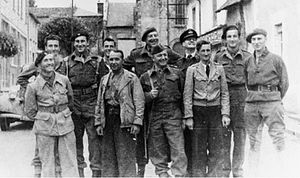 Jacques Vaillant de Guélis - Front (left to right): Colonel Charles (Commandant X, FTPF), Commandant Thomas (Interallied Mission), Marcel Lacouture (local radio operator), Major (M D) McKenzie (Interallied Mission). Back (left to right): Captain R Maloubier (SOE), 2nd Lieutenant Lannoux (WT operator to Major Thomas), 2nd Lieutenant Jean Claude Guiet (US Army attached to SOE), Major Jacques de Guelis (SOE), Squadron Leader Andre Simon, 2nd Lieutenant Jacques Dufour (SOE).