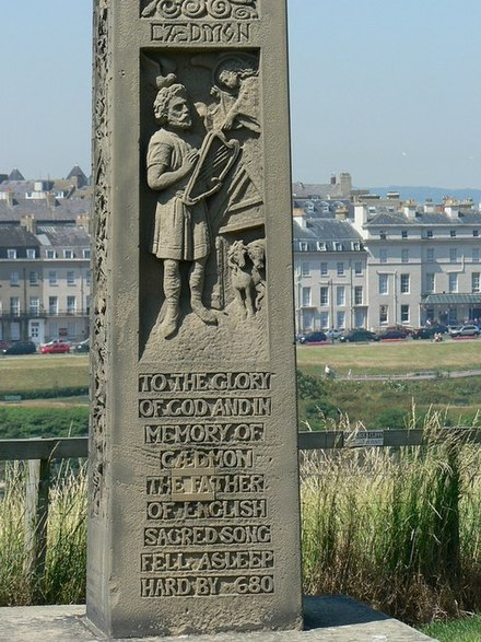 "Memorial to Caedmon, St Mary's Churchyard, Whitby. The inscription reads, ""To the glory of God and in memory of Caedmon the father of English Sacred Song. Fell asleep hard by, 680."" MemorialToCaedmon(RichardThomas)Jul2006.jpg"