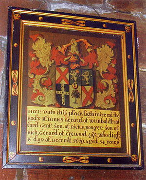 Randle Holme - Memorial board in St Mary's Church, Thornton-le-Moors Probably by Randle Holme III