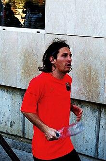 Messi durante una pausa d'allenamento a Barcellona nel 2008