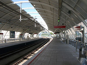 Metro Bilbao - Urbinaga Station (L2), curved, in an uphill and on a viaduct.