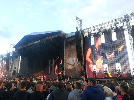 Metallica performing during the Sonisphere Festival in 2014 Mettalica Sonisphere 2014 in the United Kingdom 25.jpg
