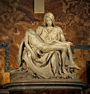 Pietà, Michelangelo, 16th c.: Jesus' mother Mary holds the body of her dead son