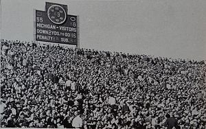 1947 Michigan Wolverines football team - Scoreboard at Michigan Stadium reflects a 55-0 victory over Michigan State.