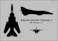 Mikoyan-Gurevich MiG-27M three-view silhouette.png