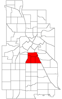 Location of Phillips within the U.S. city of Minneapolis