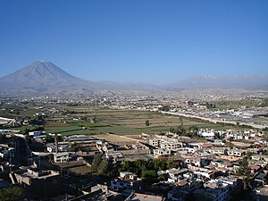 Arequipa - Partial view of Arequipa, with Misti volcano in the left.