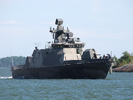 Hamina-class missile boat Pori, designed for operations in the shallow waters of the Finnish territorial waters riddled with skerries