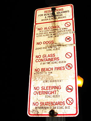Mission Beach, San Diego - Mission Beach regulations