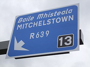 Mitchelstown - A cantilever sign for access to Mitchelstown from the M8, 3 km south of the town.