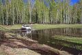 Mitsubishi Pajero Sport runs through spring puddle 09.JPG