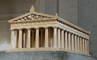Ancient Greek temple - Model of a typical Doric temple, the Temple of Aphaia on Aegina (Glyptothek, Munich).