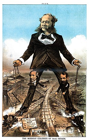"William Henry Vanderbilt - 1879 cartoon depicting Vanderbilt as ""The Modern Colossus of (Rail) Roads"""