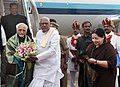 Mohd. Hamid Ansari being received by the Governor of Tamil Nadu, Dr. K. Rosaiah at Chennai Airport, in Tamil Nadu. The Chief Minister of Tamil Nadu, Dr. J. Jayalalithaa and the Union Minister for Minority Affairs.jpg