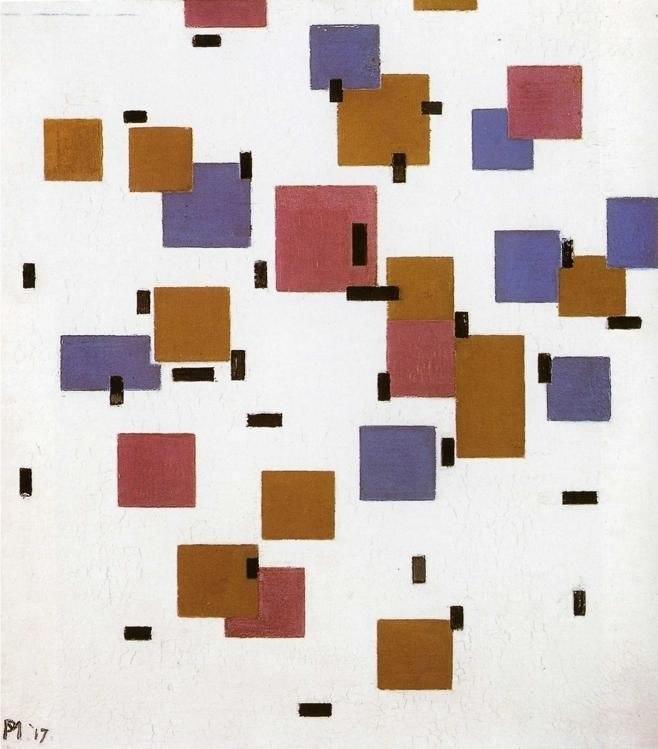 Mondrian Compositie in kleur A