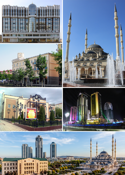 Views of Grozny; top upper left: National Library of Chechen; top lower left: Vladmir Putin Avenue; top right: Akhmad Kadyrov Mosque; middle left: Khanpashi Nuradilova Drama Teater; middle right: Night view of Grozny-City Towers; bottom: Panorama View of Akhmad Kadyrov area