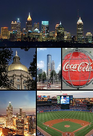 From top left: City skyline from Buckhead, the Georgia State Capitol, Centennial Olympic Park, World of Coca Cola, Downtown Atlanta skyline, and Turner Field