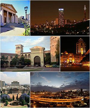 Johannesburg - Clockwise, from top: Johannesburg Art Gallery, the Hillbrow skyline at night, Nelson Mandela Square in Sandton, Johannesburg CBD looking east over the M1 Freeway, the University of the Witwatersrand's East Campus and Montecasino in Fourways.