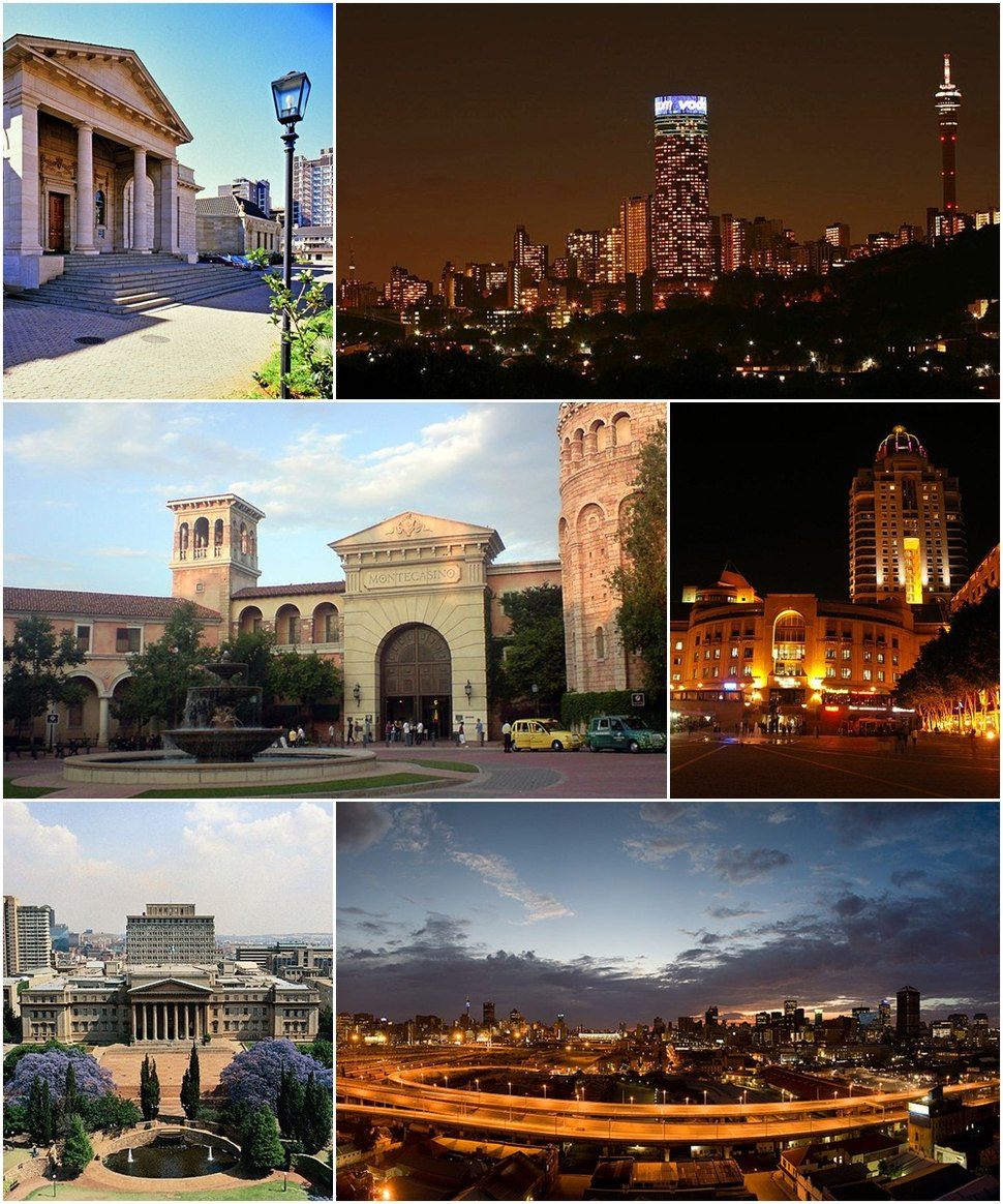 Clockwise, from top: Johannesburg Art Gallery, the Hillbrow skyline at night, Nelson Mandela Square in Sandton, Johannesburg CBD looking east over the M1 Freeway, the University of the Witwatersrand's East Campus, and Montecasino in Fourways.
