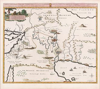 Garden of Eden - Map by Pierre Mortier, 1700, based on theories of Pierre Daniel Huet, Bishop of Avranches. A caption in French and Dutch reads: Map of the location of the terrestrial paradise, and of the country inhabited by the patriarchs, laid out for the good understanding of sacred history, by M. Pierre Daniel Huet.