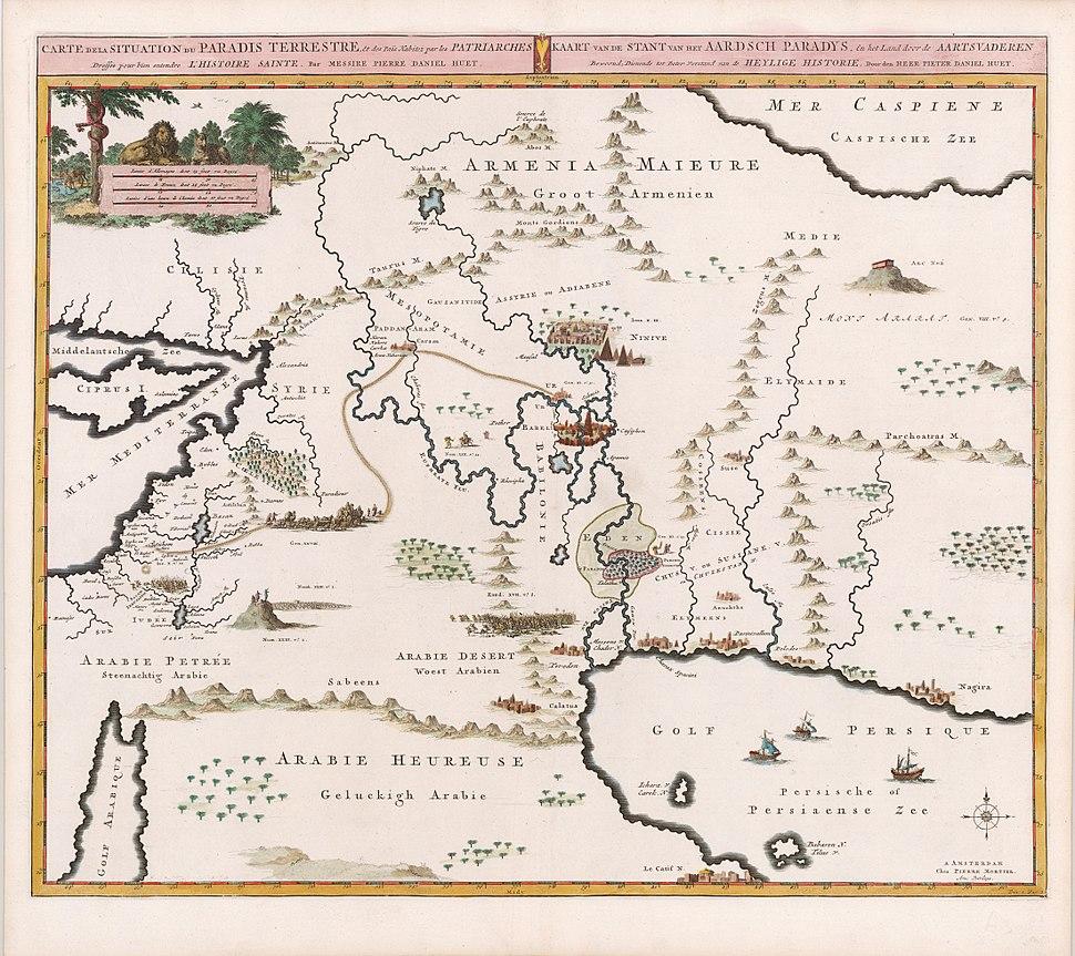 Mortier, Situation du Paradise Terrestre, 1700 Cornell CUL PJM 1014 01