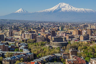Yerevan - Mount Ararat, the national symbol of Armenia, dominates the Yerevan skyline