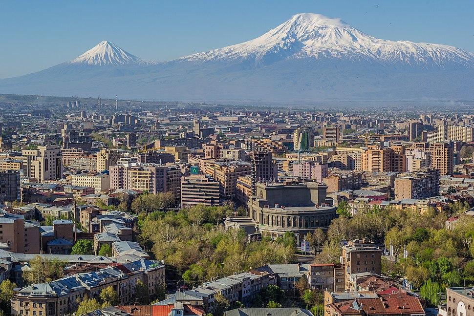 Mount Ararat and the Yerevan skyline