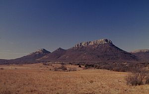Wichita Mountains - Granite overlying gabbro - a view of Mount Sheridan from the northeast