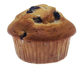 A blueberry muffin in a paper muffin cup.