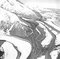 Muldrow Glacier, valley glaciers converging creating medial moraines, September 3, 1970 (GLACIERS 5190).jpg