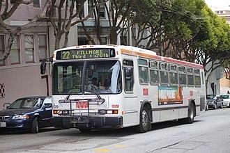 San Francisco Municipal Railway fleet - Image: Muni route 22 bus, June 2012