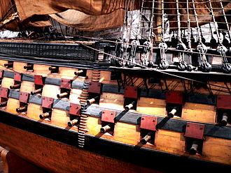 Gun port - Broadside of the Océan, showing the quincunx disposition of the gunport across superposed gun decks.