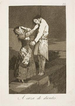 Museo del Prado - Goya - Caprichos - No. 12 - A caza de dientes