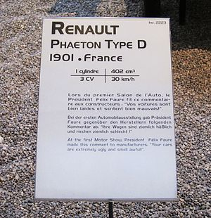 Félix Faure - Image: Museum Label at French national auto museum quoting President Faure on cars