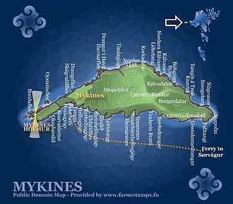 Mykines, Faroe Islands - Map of Mykines