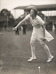 Black and white photograph of Myrtle Maclagan bowling